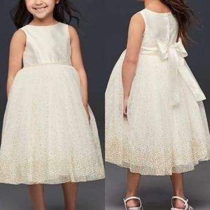 David's Bridal Tulle Tea Length Flower Girl Dress